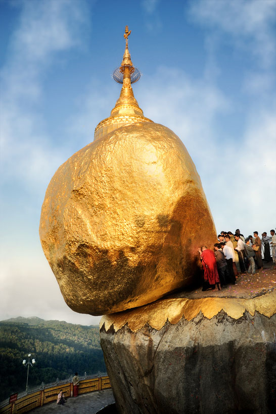 Pilgrims at the Golden Rock