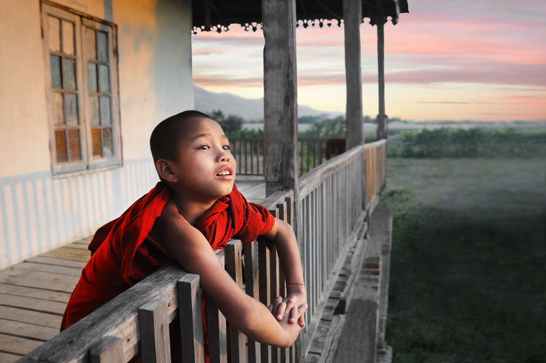 Monk Enjoying the Sunset