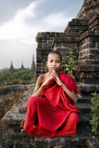 Novice Monk and Ancient Temples