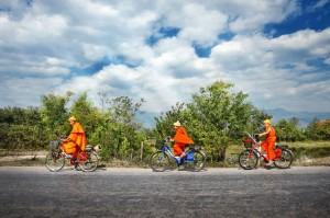 Three Monks on Bicycles