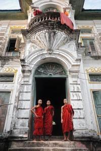 Monks Outside Monastery